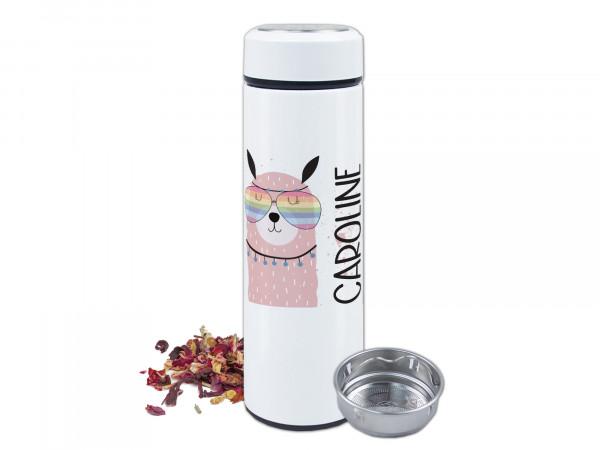Teeflasche Lama - personalisiert mit Namen