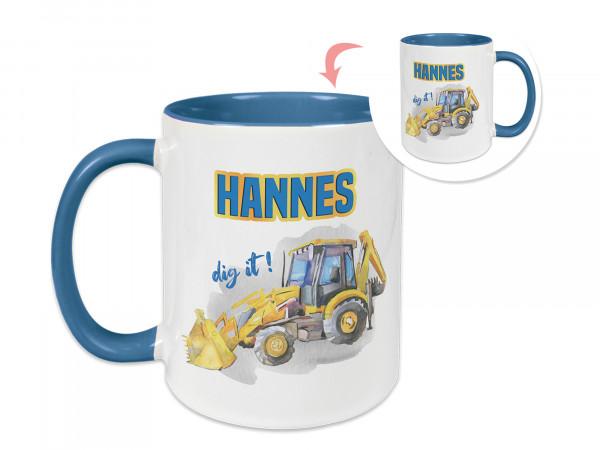 Tasse in Hellblau Kinder mit Namen, personalisiert für Jungen