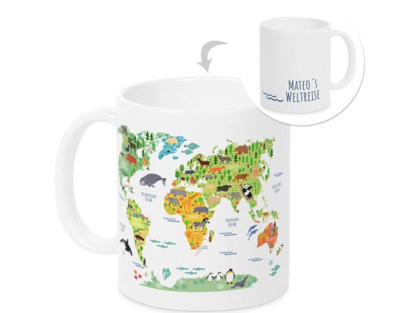 Tasse Weltkarte mit Namen Geschenk zur Einschulung Geburtstag