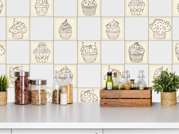 Fliesenaufkleber im Set Küche verschiedene Cupcakes