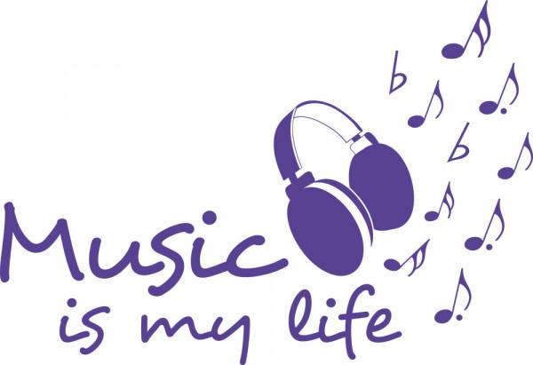 Wandtattoo Wandspruch Music is my life mit Kopfhörer