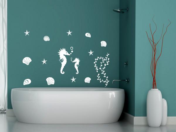Wandtattoo Set Badezimmer Seepferdchen