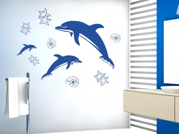 Wandtattoo Badezimmer Set Delfine Muscheln Sterne
