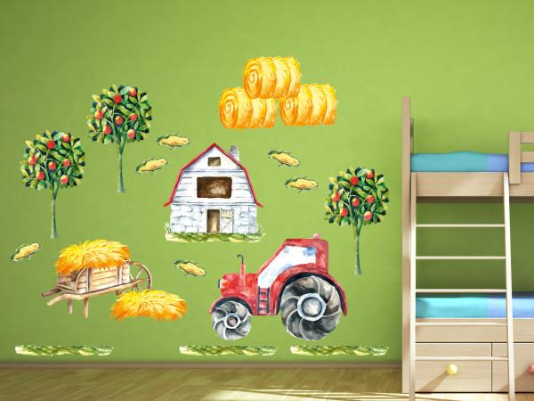 Wandtattoo Bauernhof Kinderzimmer Traktor in rot