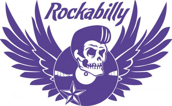 Wandtattoo Musik Rockabilly Totenkopf mit Schallplatte und Flügel