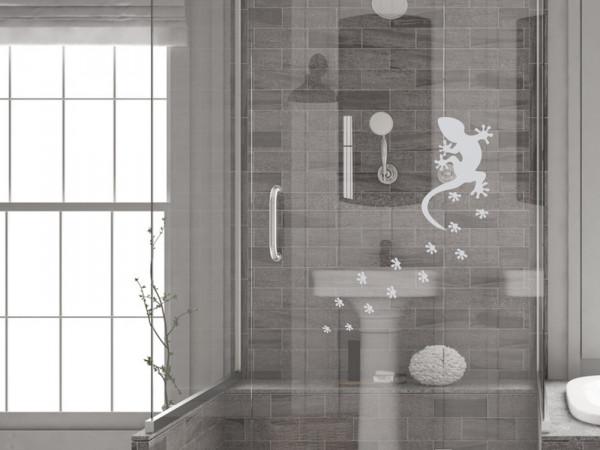 Fenstertattoo für Badezimmer Gecko Abdrücke Reptil