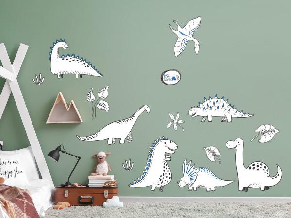 Wandtattoo Dinos Weiß-Blau