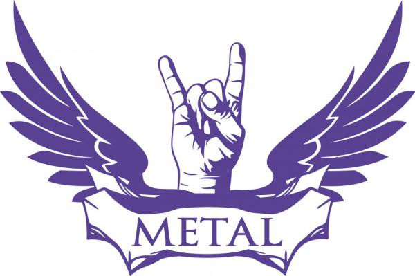 Wandtattoo Wandaufkleber Schriftzug Metal mit Hand und großen Flügeln