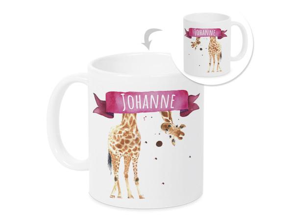 Tasse mit Namen Kinder, personalisiertes Geschenk Weihnachten Geburtstag, als Geschenkidee, Becher, lustige Giraffe