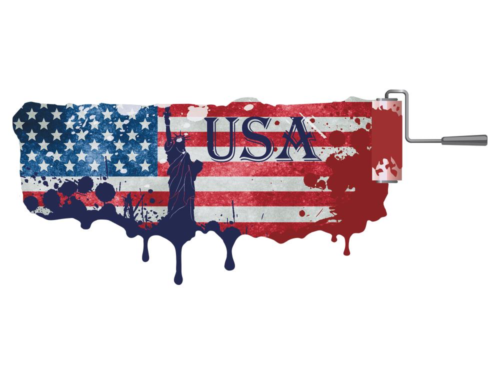 Wandsticker Wandaufkleber Deko für Wohnzimmer USA Flagge ...