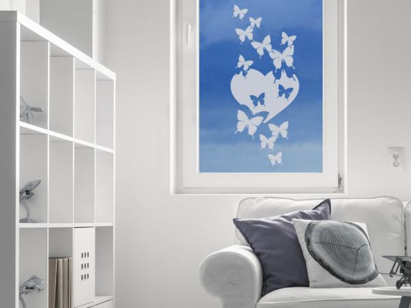 Glastattoo Wohnzimmer Herz Schmetterling