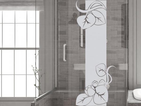Fensterfolie Duschkabine für Badezimmer Blätter Seerosen Blüten