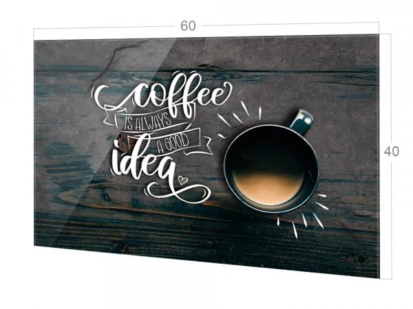 Spritzschutz Küche Glas Spruch Kaffee mit Kaffeetasse, braun