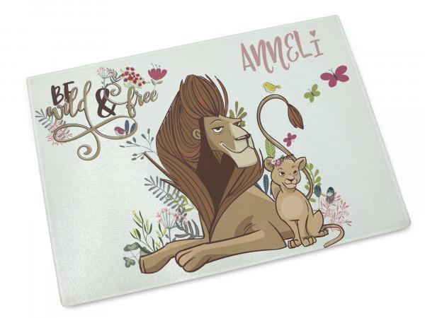 Glasschneidebrettchen, Frühstücksbrettchen mit Namen mit Löwen und Babylöwe