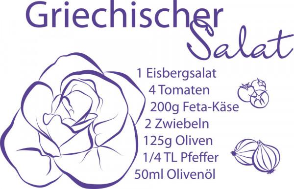 Wandtattoo Rezepte für Küche Griechischer Salat Zwiebeln