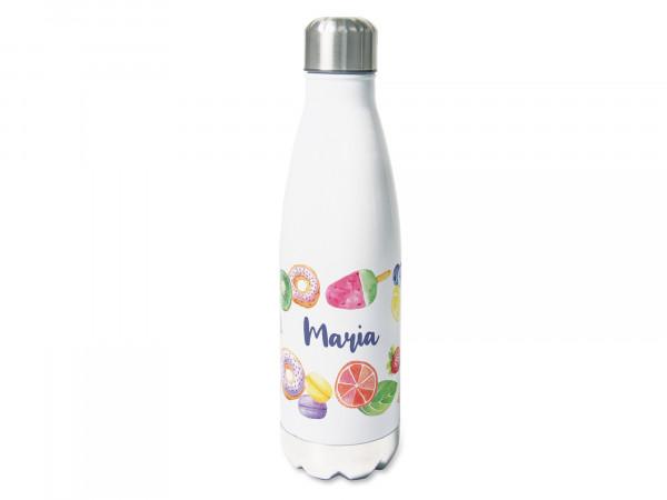 Trinkflasche personalisiert mit Namen, Obst und Beeren