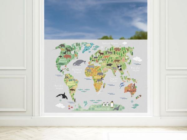 Sichtschutzfolie Kinderzimmer Weltkarte, Fensterfolie