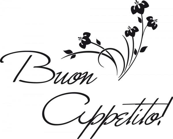 Wandtattoo Küche Schriftzug Buon Appetito Guten Appetit mit Blumen