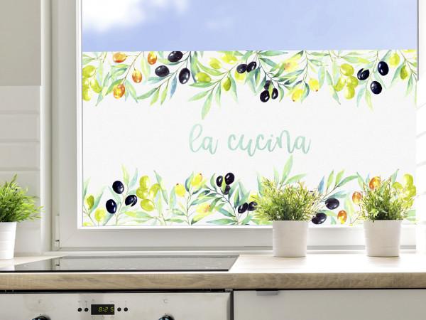Sichtschutzfolie Küche, Oliven und Mediterran