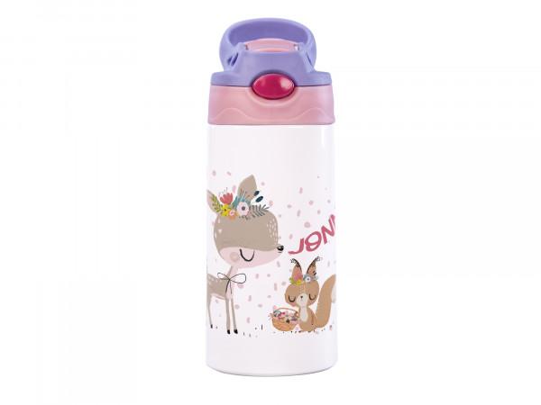 Thermosflasche für Mädchen mit Wunschname - Rehkitz und Eichhörnchen