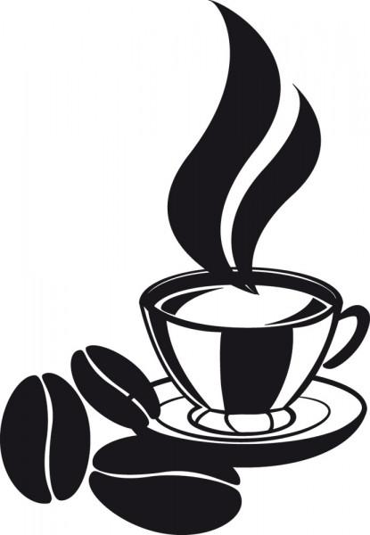 Wandtattoo Kaffeetasse mit Kaffeebohnen für Kaffeebar