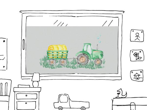 Fensterfolie Kinderzimmer für Jungen, Trecker in grün