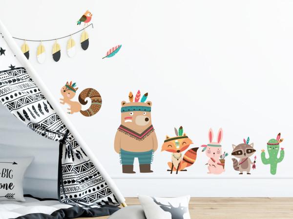 Wandtattoo Set Indianer für Kinderzimmer