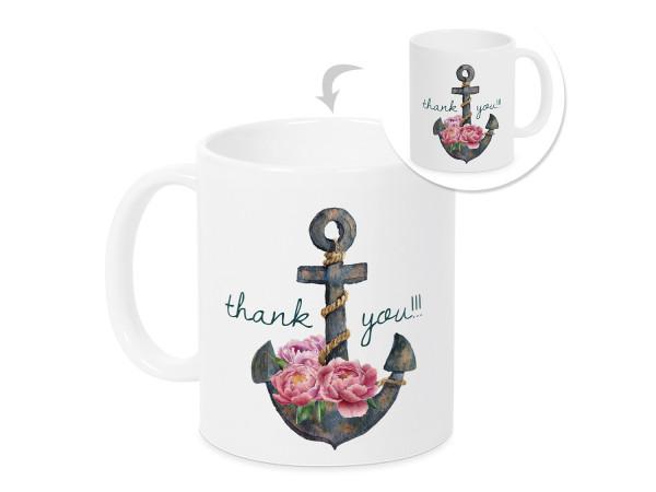 Tasse Danke mit Anker und Blumen Dankeschön für alles