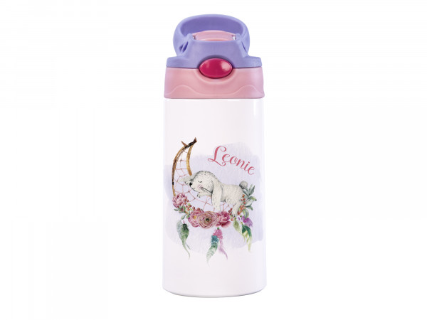 Thermosflasche für Mädchen mit Wunschname - Hase mit Traumfänger