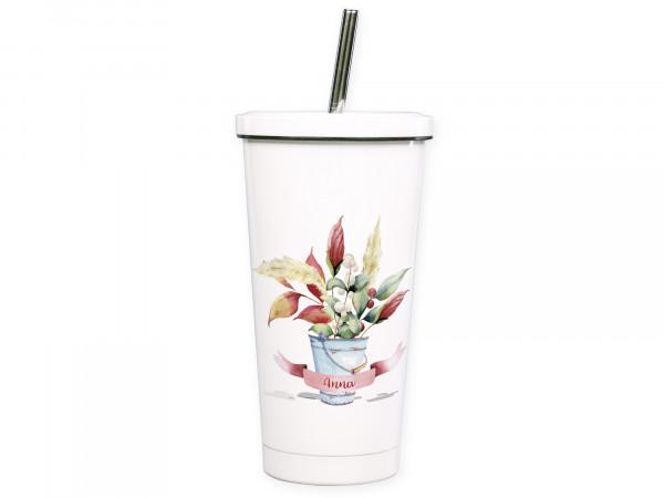 Cocktailbecher personalisiert mit Namen und Blumen
