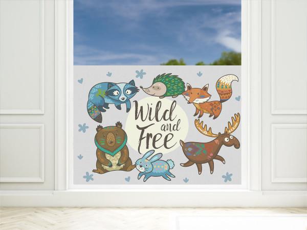 Fensterfolie Kinderzimmer Wilde Tiere