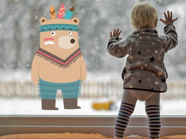 Fensterfolie für Kinderzimmer Motiv Indianer Bär