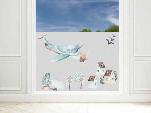 Sichtschutzfolie Kinderzimmer Junge Flugzeuge, Fensterfolie