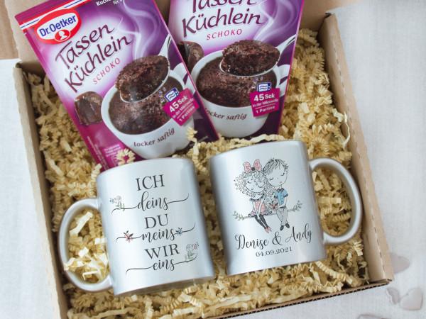 Personalisiertes Geschenk Set für Verliebte - Tassen mit Tassenkuchen