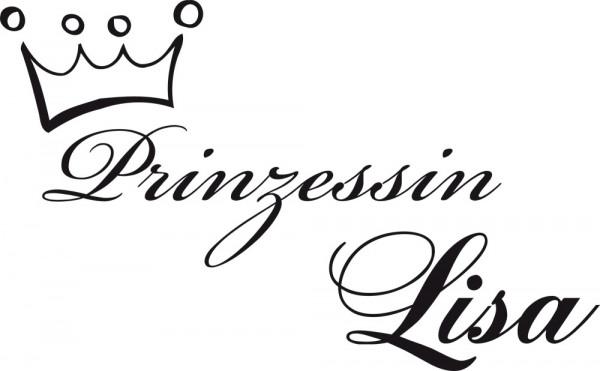 Wandtattoo Kinderzimmer Prinzessin mit Wunschnamen mit einer Krone