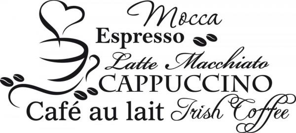 Wandtattoo Küche Kaffee-Zeilen mit Kaffee-Tasse