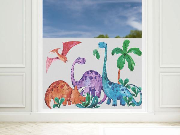 Sichtschutzfolie Kinderzimmer Junge Dinos, Fensterfolie