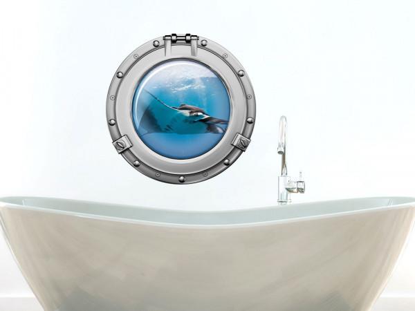 Wandsticker Badezimmer Bullauge Rochen Meer WC