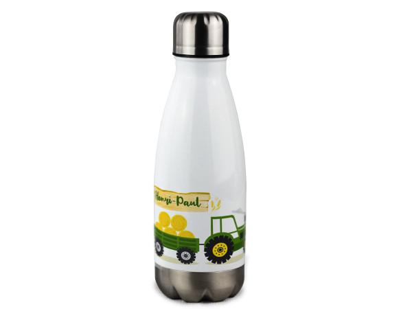 Isolierte Trinkflasche Kinder mit Namen personalisiert Trecker in Grün