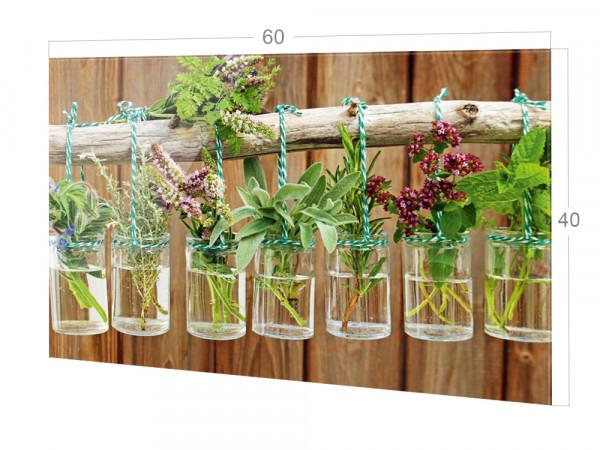 Spritzschutz Küche Glas Frische Kräuter Braun Holz Optik