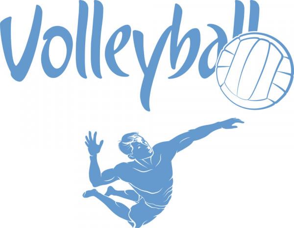 Wandtattoo Sport Schriftzug Volleyball mit Spieler und Ball