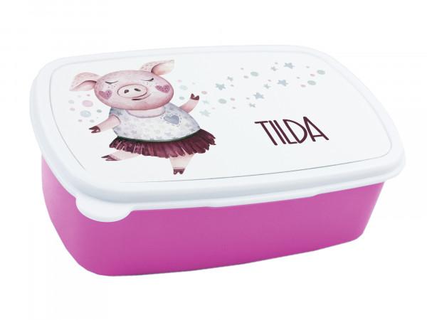 Brotdose Kinder mit Namen für Mädchen mit Schweinchen