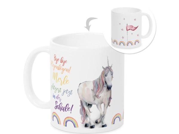 Personalisierte Tasse - Geschenk Einschulung Mädchen mit Einhorn