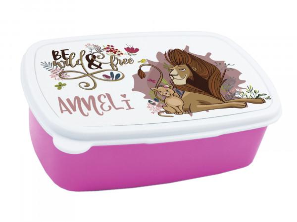 Brotdose für Mädchen, personalisiert mit Namen mit Löwen