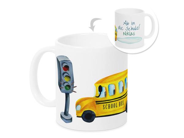 Tasse Einschulung Junge - Schulbus - personalisiertes Geschenk für Schulkind
