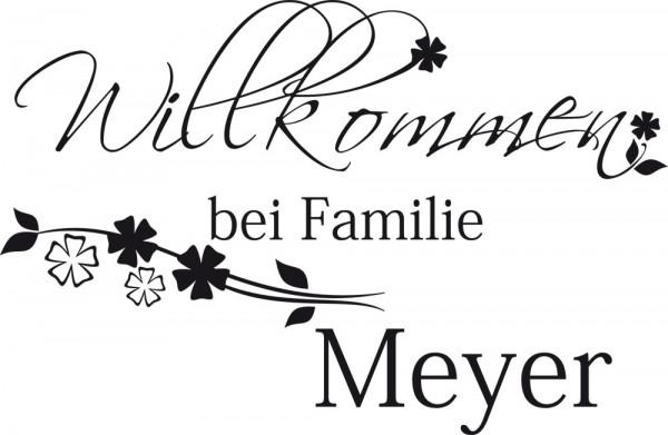 Wandtattoo Willkommen bei Familie Wunschname für Flur