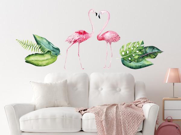 Wandtattoo Dschungel Flamingo für Kinderzimmer