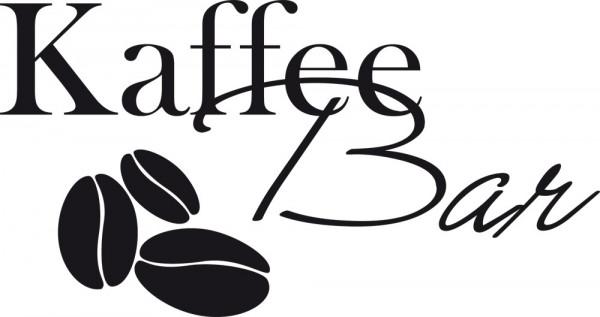 Wandtattoo Spruch Kaffee Bar und drei Kaffeebohnen