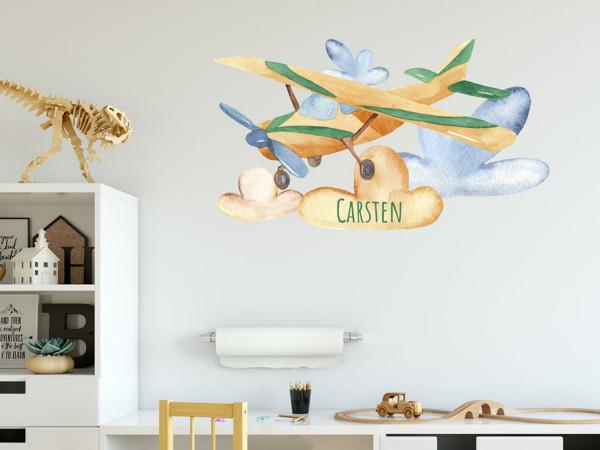 Wandtattoo Junge Name, Flugzeug, Kinderzimmer - Babyzimmer, personalisiertes Geschenk