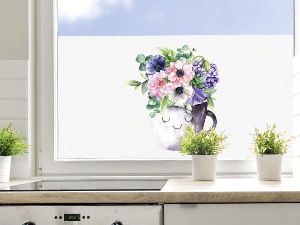 Sichtschutzfolie Küche Blumentopf